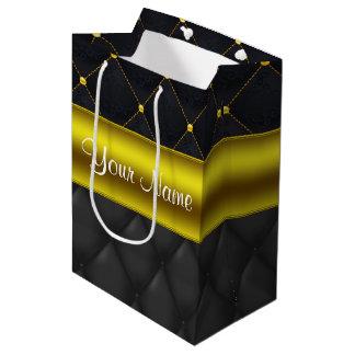 Negro acolchado sofisticado y oro bolsa de regalo mediana