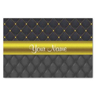 Negro acolchado sofisticado y oro papel de seda