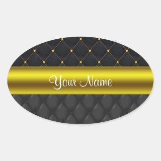 Negro acolchado sofisticado y oro pegatina ovalada