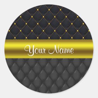 Negro acolchado sofisticado y oro pegatina redonda