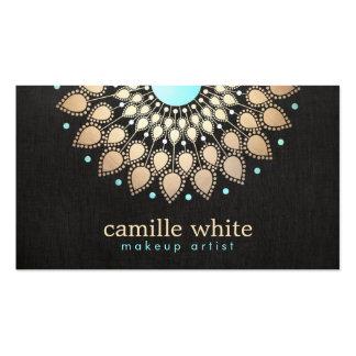 Negro adornado del logotipo del oro elegante del tarjetas de visita