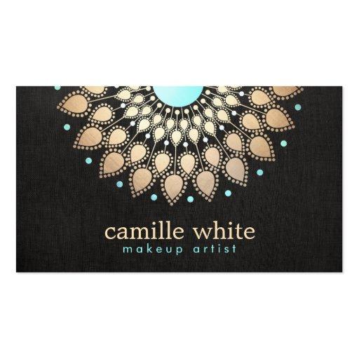 Negro adornado del logotipo del oro elegante del plantillas de tarjetas personales