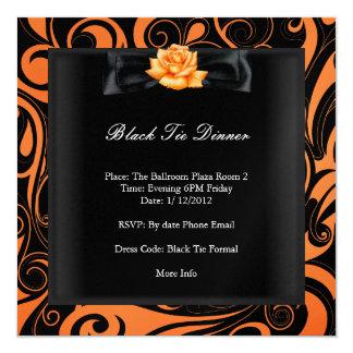 Negro anaranjado formal corporativo del lazo negro invitación 13,3 cm x 13,3cm