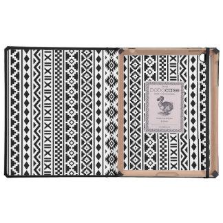 Negro azteca del modelo de la esencia en blanco iPad carcasa