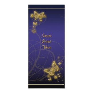 Negro azul floral del fiesta de la mariposa invitación 10,1 x 23,5 cm