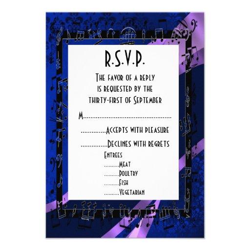 Negro azul R.S.V.P que se casa formal del damasco Comunicado Personalizado
