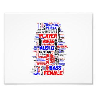 Negro azul rojo del wordle 1 femenino del bajista impresion fotografica
