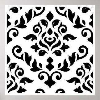 Negro barroco del diseño del damasco en blanco póster