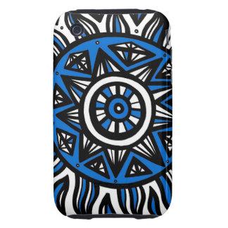 Negro blanco azul del arte abstracto iPhone 3 tough protector