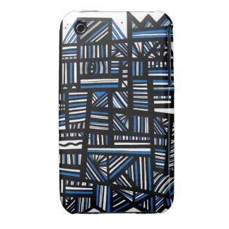 Negro blanco azul del arte abstracto Case-Mate iPhone 3 coberturas