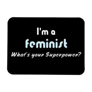 Negro blanco del lema feminista del superpoder imán foto rectangular