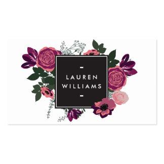 Negro/blanco florales modernos del adorno del tarjetas de visita