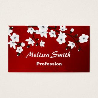 Negro blanco rojo de las flores de cerezo tarjeta de visita