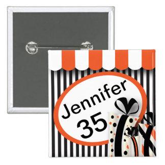 Negro, blanco y naranja raya el texto del   DIY Chapa Cuadrada