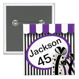 Negro, blanco y púrpura raya el texto del   DIY Chapa Cuadrada