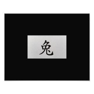 Negro chino del conejo de la muestra del zodiaco arte con fotos