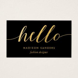 Negro clásico de la falsa de oro tipografía de la tarjeta de visita