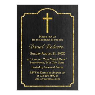 Negro clásico y oro del bautizo del bautismo invitación 12,7 x 17,8 cm
