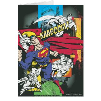 Negro cómico del superhombre tarjeta de felicitación