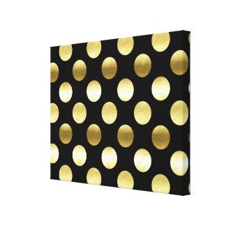 Negro con clase de los lunares de la hoja de oro impresión en lienzo