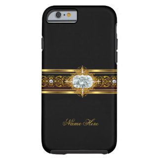 negro con clase elegante del oro del caso del funda de iPhone 6 tough