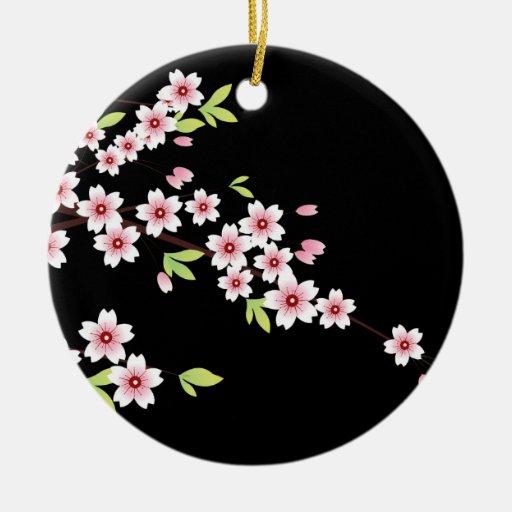Negro con la flor de cerezo rosada y verde Sakura Ornamente De Reyes