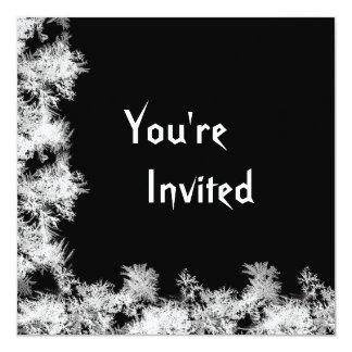 Negro con la invitación de los bordes helados del invitación 13,3 cm x 13,3cm
