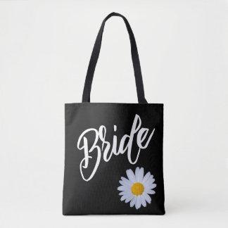 Negro con la novia de la margarita blanca bolsa de tela