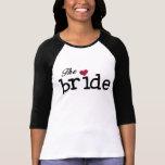 Negro con la novia roja del corazón camisetas