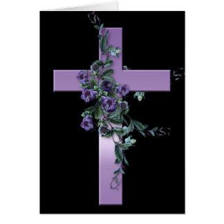 Negro con la tarjeta púrpura del cristiano de la