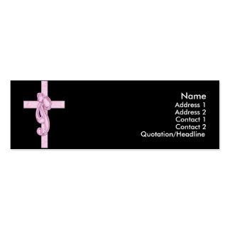 Negro con las tarjetas rosadas del perfil de la cr plantilla de tarjeta de negocio