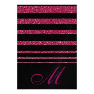 Negro con respuesta magenta del boda de la mirada invitación 8,9 x 12,7 cm