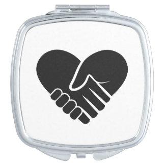 Negro conectado amor espejos compactos
