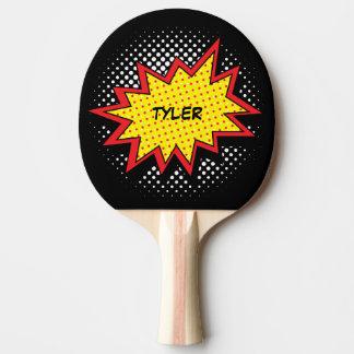 Negro conocido colorido del estilo del cómic pala de ping pong