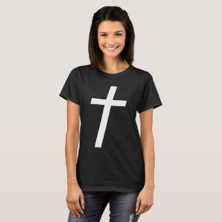 Negro cruzado recto de la camiseta del sepulcro el