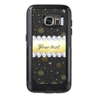 Negro de Bling de las estrellas y de los diamantes Funda Otterbox Para Samsung Galaxy S7