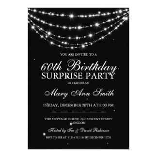 Negro de cadena chispeante de la fiesta de invitación 12,7 x 17,8 cm