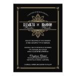 Negro de Deco del vintage y invitación del boda