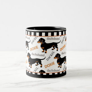 Negro de Doxie del Dachshund y modelo lindos del Taza De Café De Dos Colores