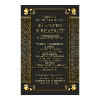 Negro de Gatsy y programa del boda del oro