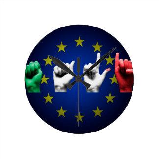 negro de Italia Europa Reloj Redondo Mediano