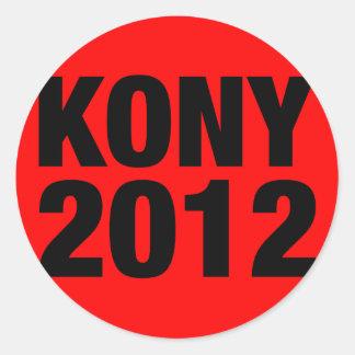 Negro de Kony 2012 en Plaza Roja Pegatina Redonda