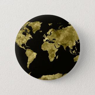 negro de la acuarela del mapa del mundo chapa redonda de 5 cm