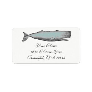 Negro de la ballena del Victorian del vintage, Etiquetas De Dirección