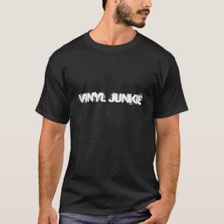 Negro de la camiseta del drogadicto del vinilo de