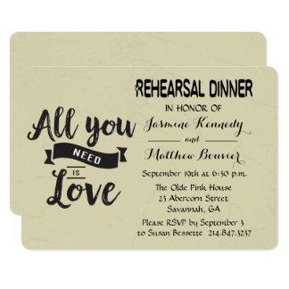 Negro de la cena del ensayo del vintage y boda del invitación 12,7 x 17,8 cm