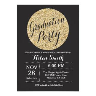 Negro de la fiesta de graduación e invitación del