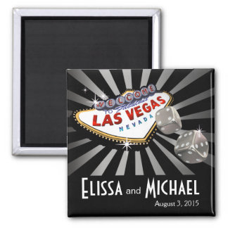 Negro de la plata del favor del boda de Las Vegas  Imán