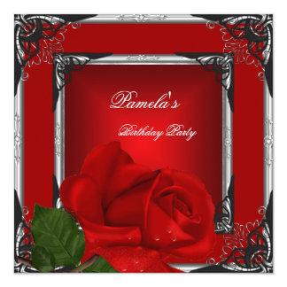 Negro de la plata del rosa rojo de la fiesta de invitación 13,3 cm x 13,3cm