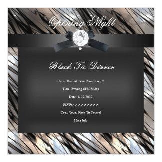 Negro de la sepia de la plata de la cena de lazo invitación 13,3 cm x 13,3cm